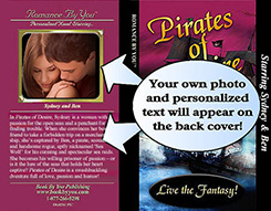 Book cover illustration displaying placement of the customer uploaded photo.