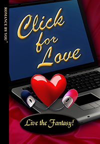 Front book cover illustration for personalized romance novel, Click for Love.