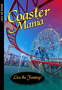 Front book cover illustration for personalized childrens novel, Coaster Mania.