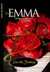 Front book cover illustration for personalized classic novel, Emma.