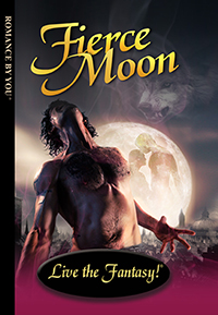 Front book cover illustration for personalized romance novel, Fierce Moon.