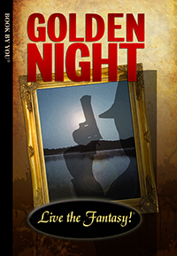 Front book cover illustration for personalized mystery novel, Golden Night.