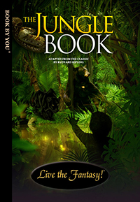 Front book cover illustration for personalized classic novel, The Jungle Book.
