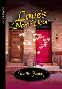 Front book cover illustration for personalized romance novel, Love's Next Door.