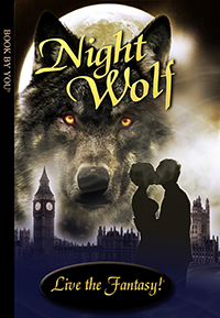 Front book cover illustration for personalized teen novel, Night Wolf.