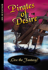 Front book cover illustration for personalized romance novel, Pirates of Desire.