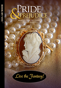 Front book cover illustration for personalized classic novel, Pride and Prejudice.