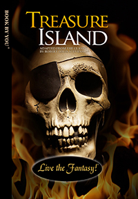 Front book cover illustration for personalized classic novel, Treasure Island.