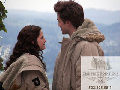 Book By You donated walkway stone in Twilight movie. Stars Robert Pattinson & Kristen Stewart standing on Book By You walkway.