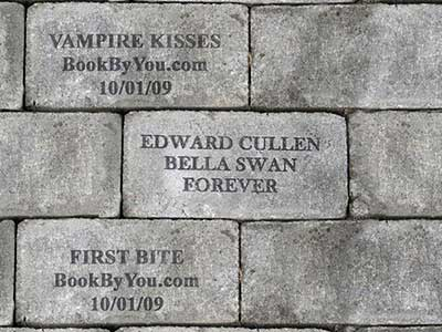 Book By You donated walkway stone in Twilight movie. Featuring Vampire Kisses personalized romance novel & First Bite for teens.