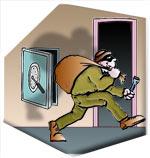 The burglars try to sneak away!