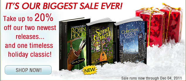 Personalize your holiday by taking up to a 20% discount off three wonderful personalized novels