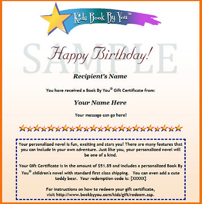 Sample Children's Gift Certificate