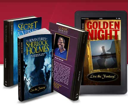 Ustar in these full-length mystery novels - you & friends solve the mystery. Be Hercule Poirot, Sherlock Holmes and many more.